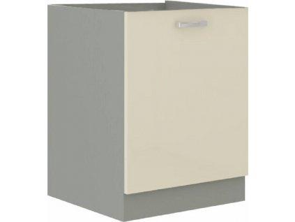 Skříňka dolní, krémová extra vysoký lesk/šedá, PRADO 60 D 1F BB