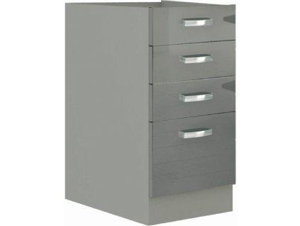 Skříňka dolní, šedý extra vysoký lesk/šedá, PRADO 40 D 4S BB