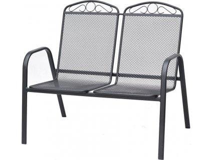 Zdobená kovová 2 sedačka, drátěná výplň, opěrky rukou