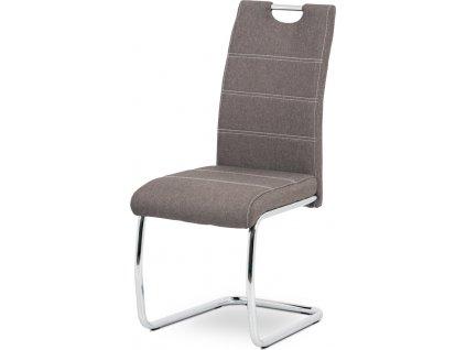 Jídelní židle, hnědá látka, bílé prošití, kov chrom