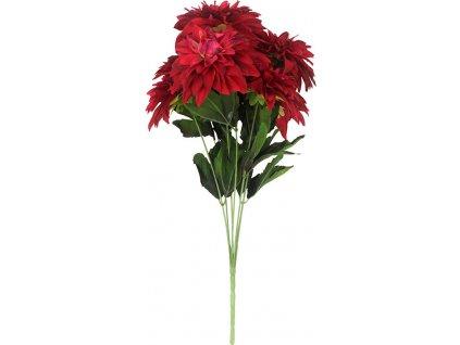 Jiřinky puget, 7 hlav, barva červená. Květina umělá.
