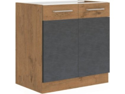 Dřezová skříňka, šedá matná / dub lancelot, VEGA 80 ZL 2F BB