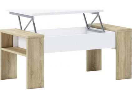 Konferenční stolek, dub sonoma/bílá, PULA