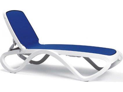 Plastové lehátko OMEGA - Biely rám / modrá