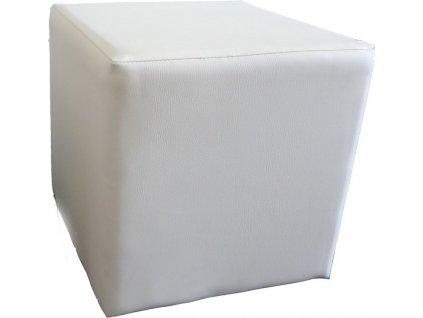 Taburet KUBA ekokůže bílá