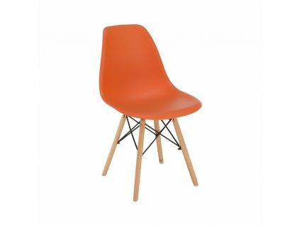 Židle, oranžová/buk, CINKLA 3 NEW