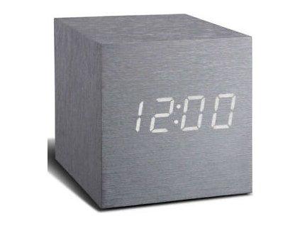 """Budík """"Cube Click"""", hliník / bílá - Gingko"""