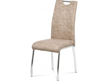 Jídelní židle, potah krémová látka COWBOY v dekoru vintage kůže, bílé prošití, k
