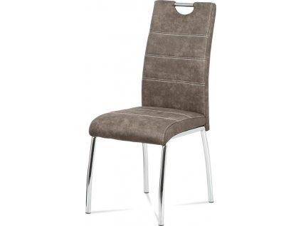 Jídelní židle, látka hnědá, bílé prošití / chrom
