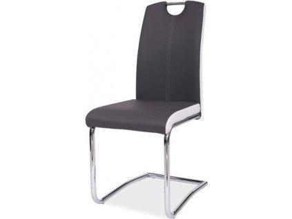 Jídelní čalouněná židle H-341 šedá/bílé boky