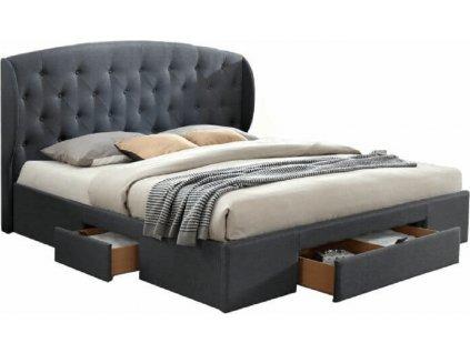 Manželská postel, látka šedá, 160x200, OLINA NEW