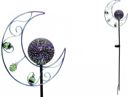 Měsíc s LED světlem, kovová zahradní dekorace, zápich (baterie na solární dobíjení)