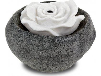 Zahradní fontána s LED světlem, černý polyresin v dekoru kámen a bílá písková růže, elektrické miničerpadlo 240V/12V