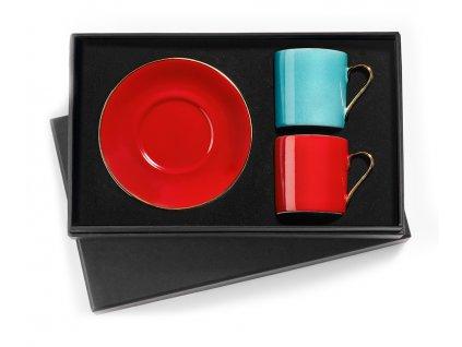 Turecký kávový set 2 šálků s podšálky, červená / tyrkysová, Egej - Selamlique