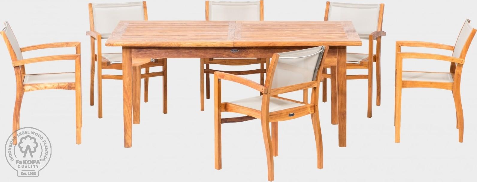 FaKOPA Venkovní sezení 6x křeslo stůl masivní teak Valeriya