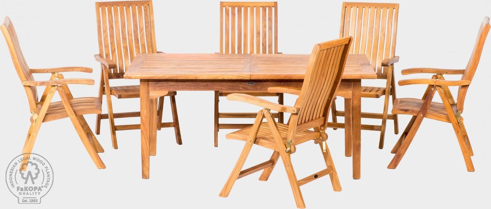 FaKOPA Zahradní souprava z teaku 6xskládají židle obdélníkový stůl Varvara