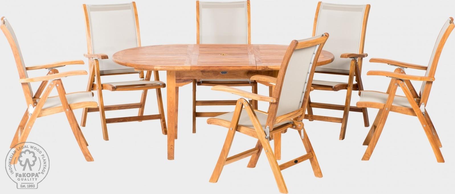 FaKOPA Zahradní set z teakového dřeva 6xkřeslo rozkládací stůl Vladlena