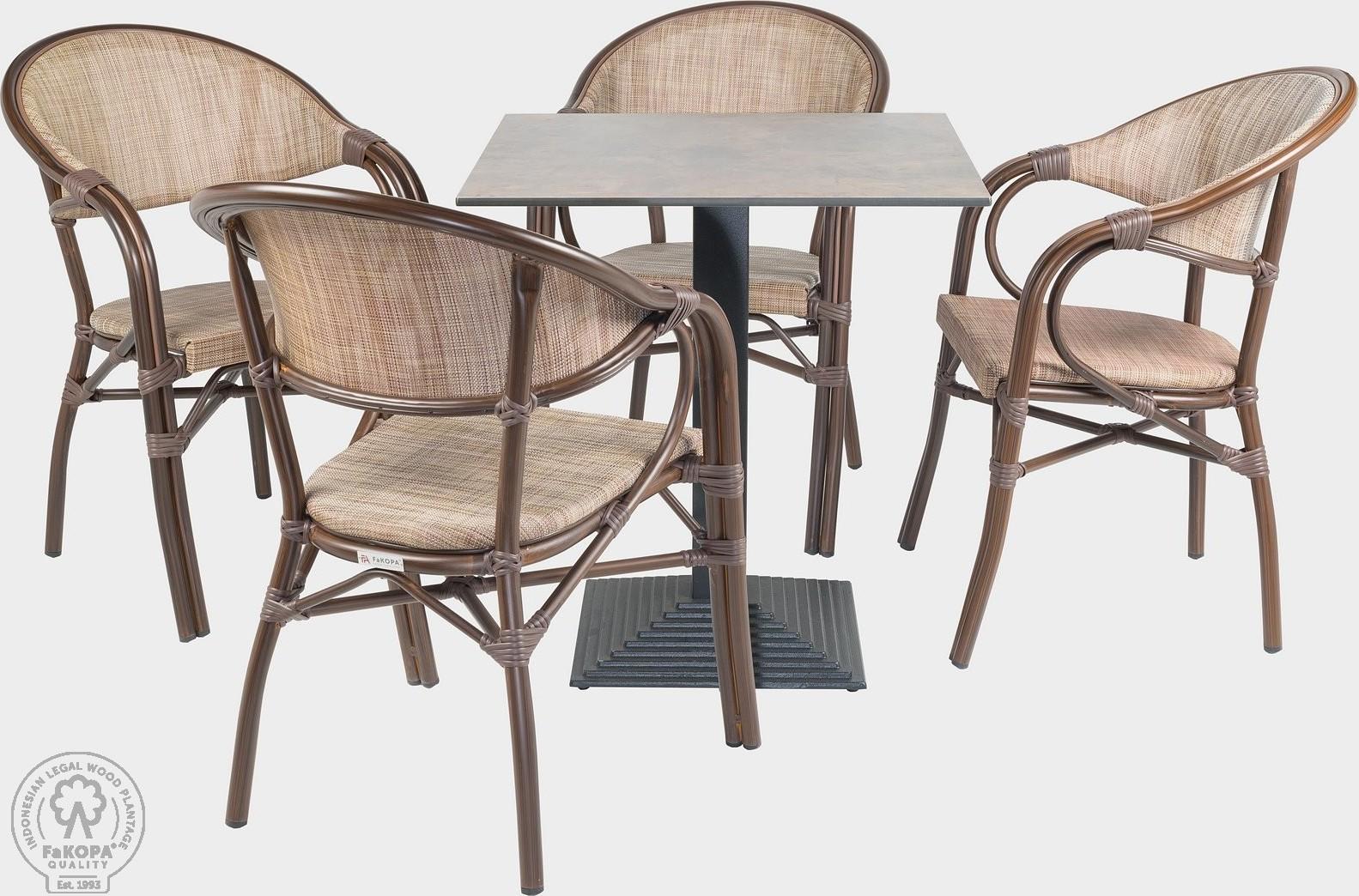 FaKOPA Venkovní souprava sezení 4x křeslo stůl Luisa