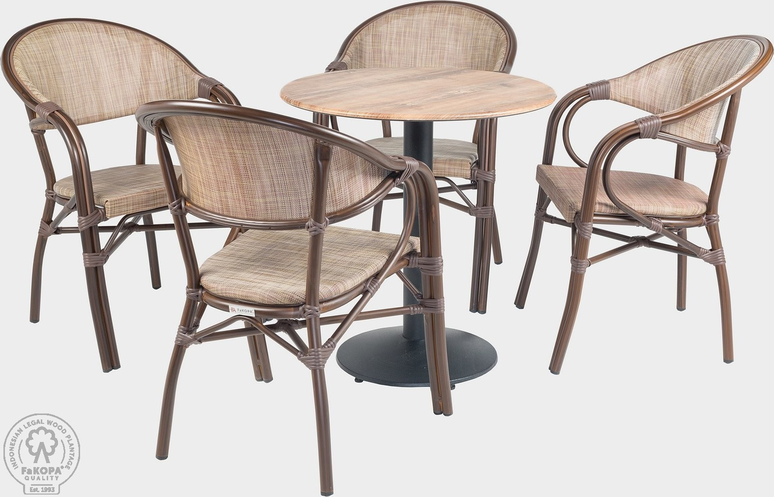FaKOPA Venkovní set 4x křeslo stůl, do zátěžových prostor Luz