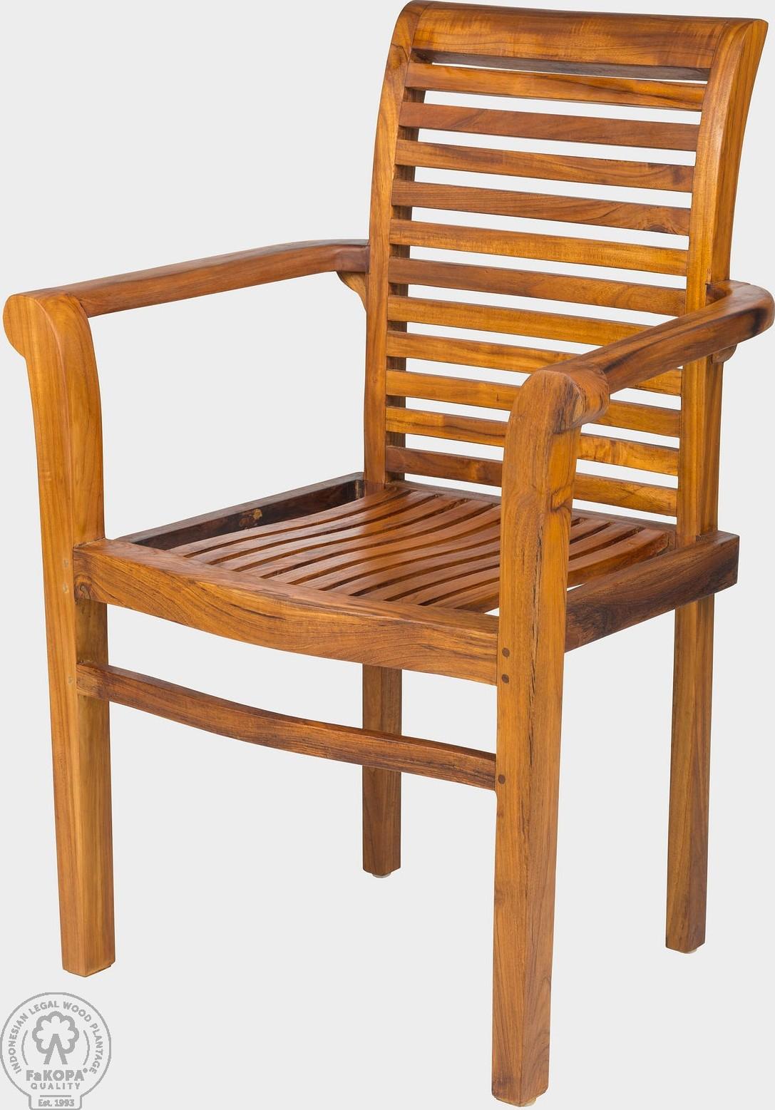 FaKOPA Pevná židle s područkami z teakového dřeva Marilú