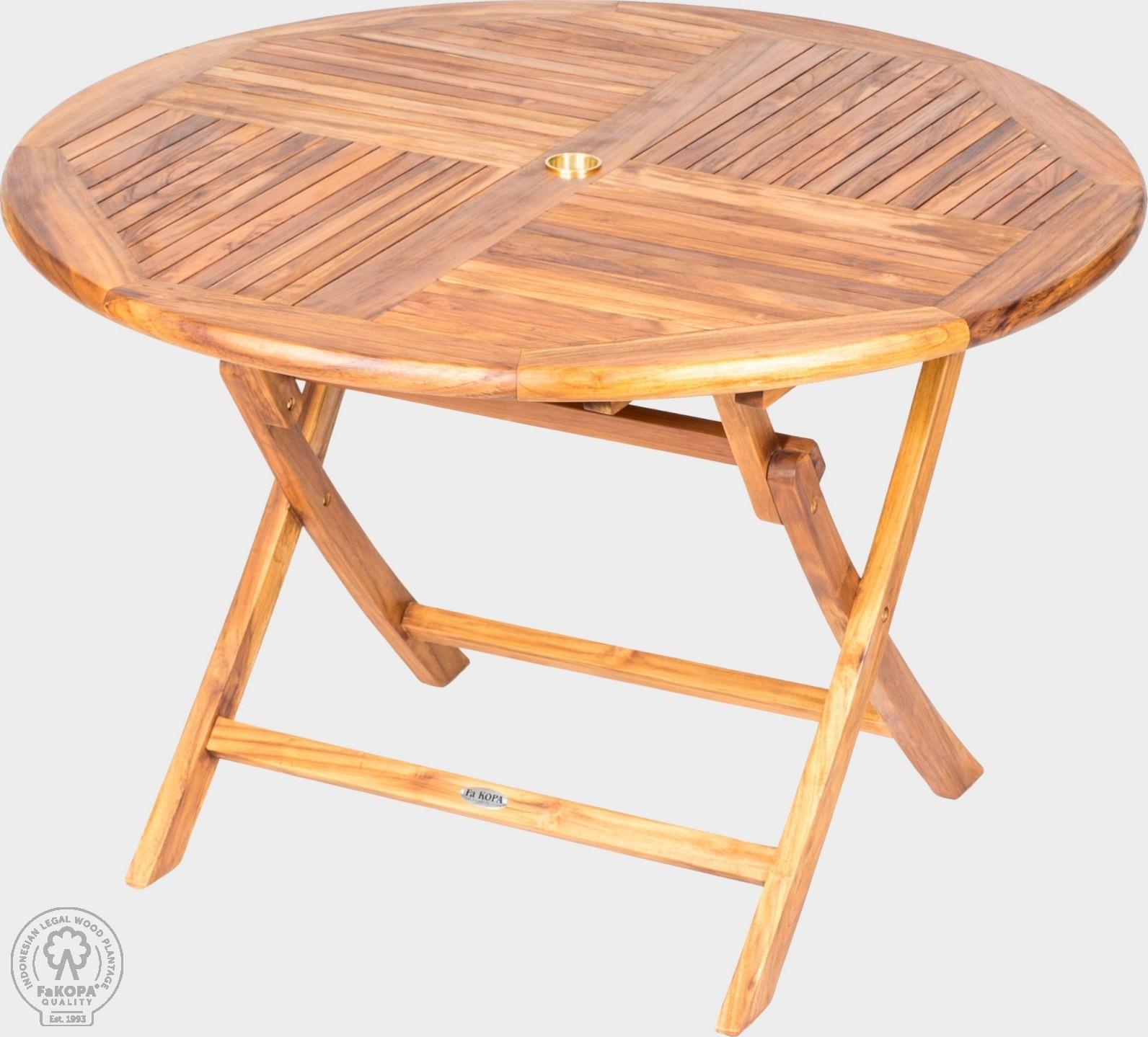 FaKOPA Velký kulatý dřevěný skládací stůl s otvorem pro slunečník Rosie