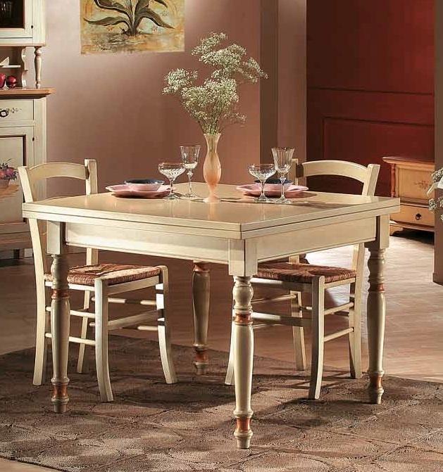 Stylový masivní jídelní stůl, rozkládací jako kniha v barvě slonové kosti