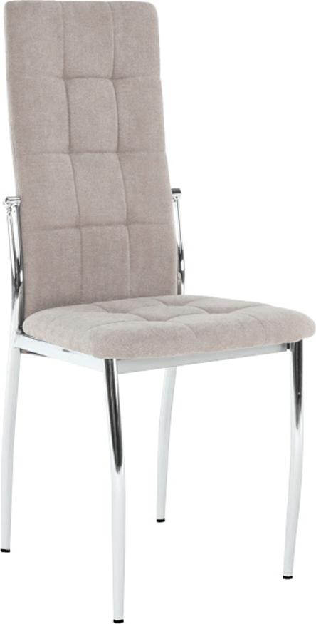 Béžová čalouněná židle do kuchyně s kovovou kostrou