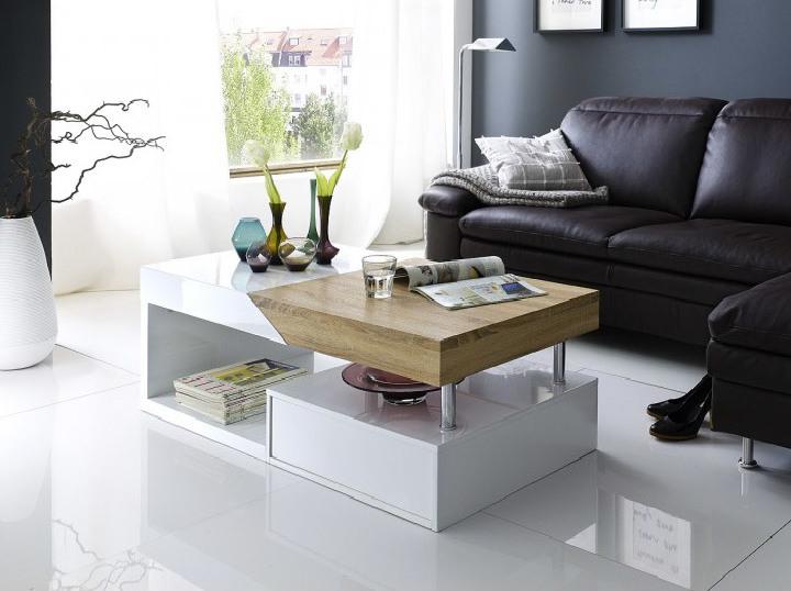 Konferenční stolek, bílý lesk / dub sonoma, MELIDA
