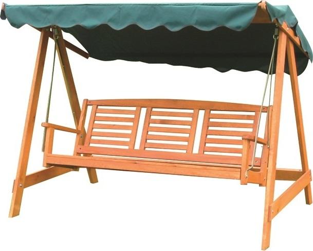 Rojaplast Houpací lavice z maxivního dřeva se zelenou stříškou