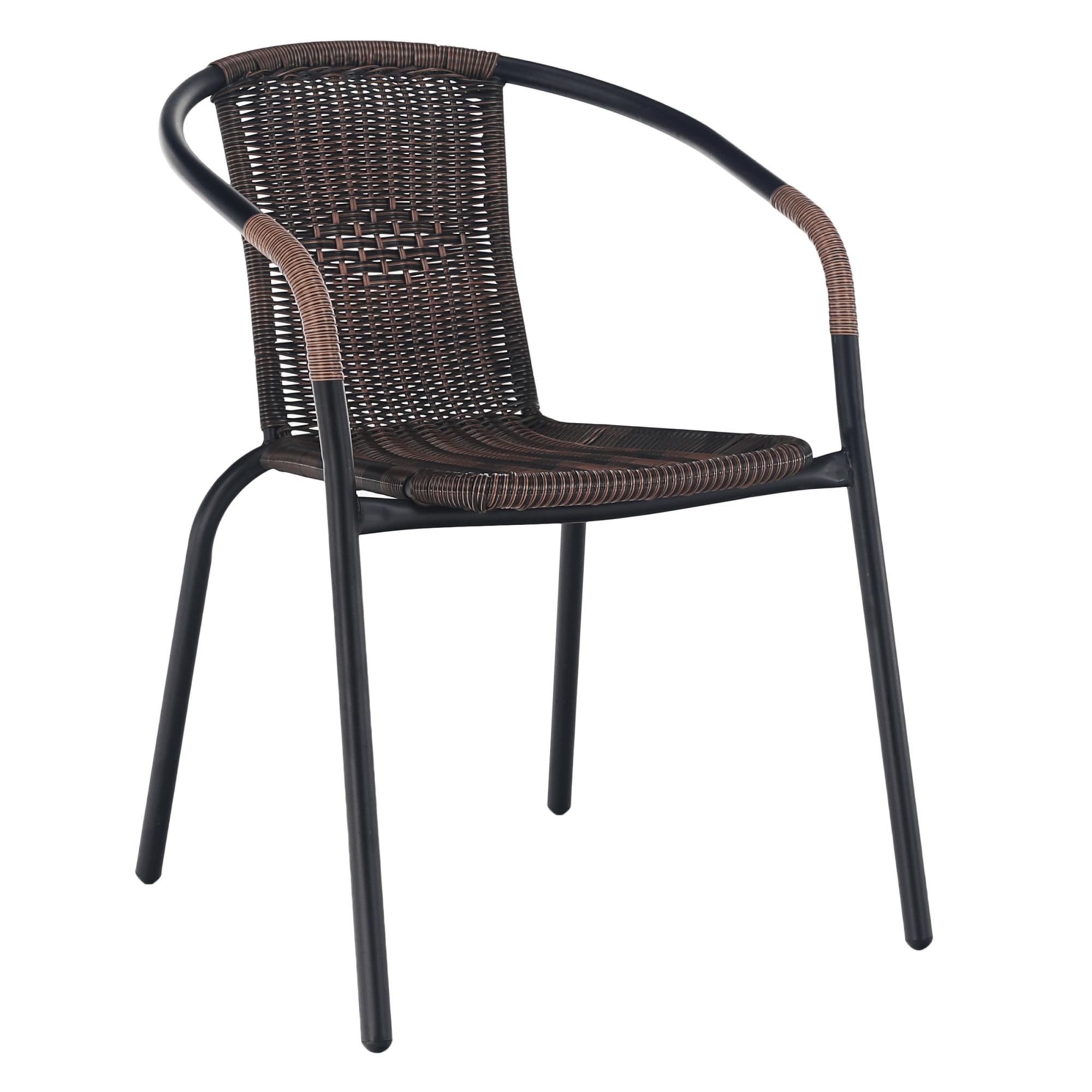 Stohovatelná židle z umělého ratanu, kovová kostra