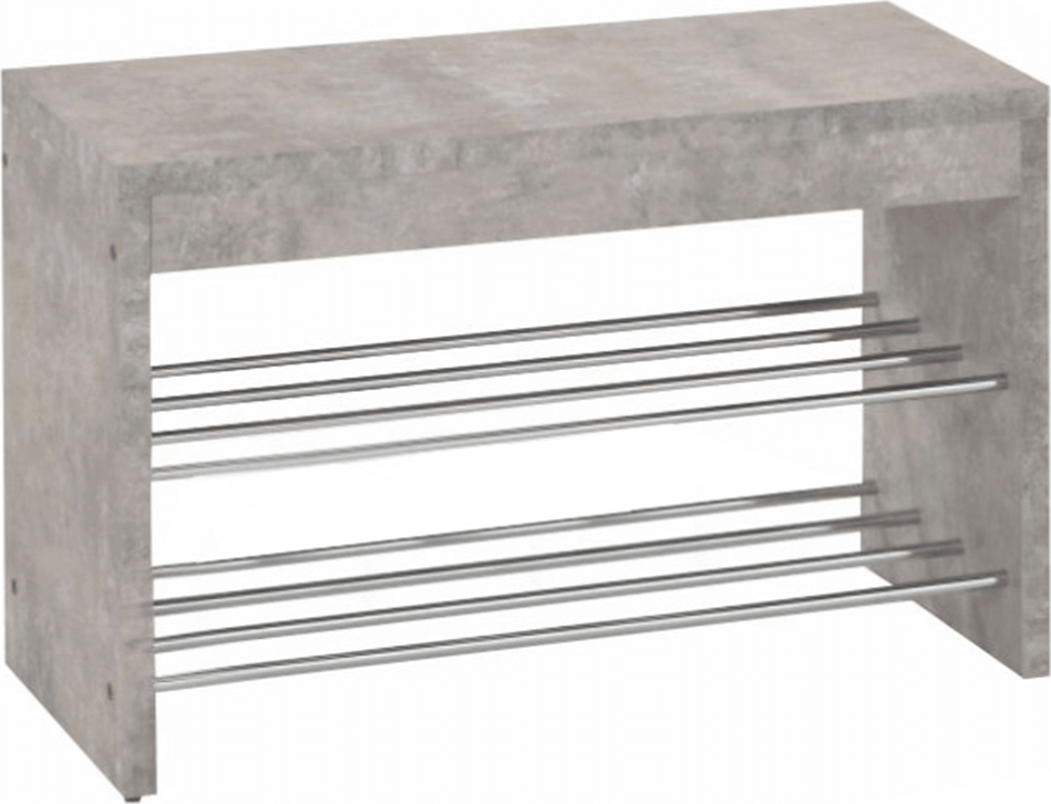 Lavice s botníkem, beton/chrom, LUSIA