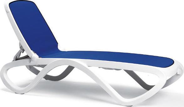 Nardi Plastové lehátko OMEGA - Biely rám / modrá