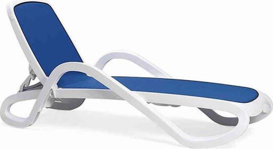 Nardi Plastové lehátko ALFA - Biely rám / modrá