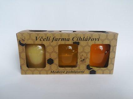 Medové trio = květový med + pastovaný med + květový med s akátem