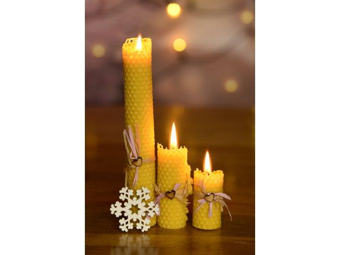 Svíčka ze včelího vosku - kulatá