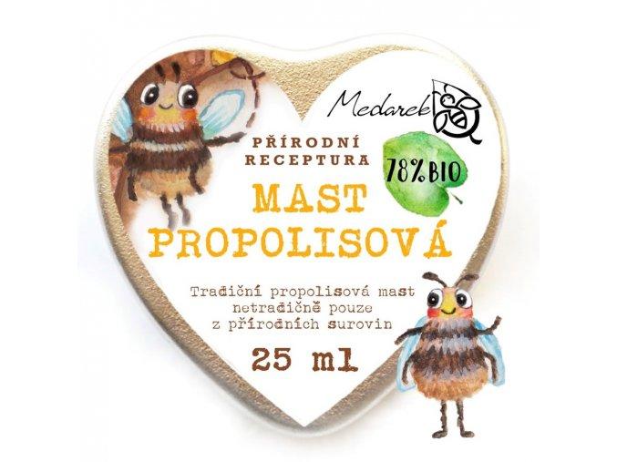 Medarek Propolisová mast srdíčko ilustrace