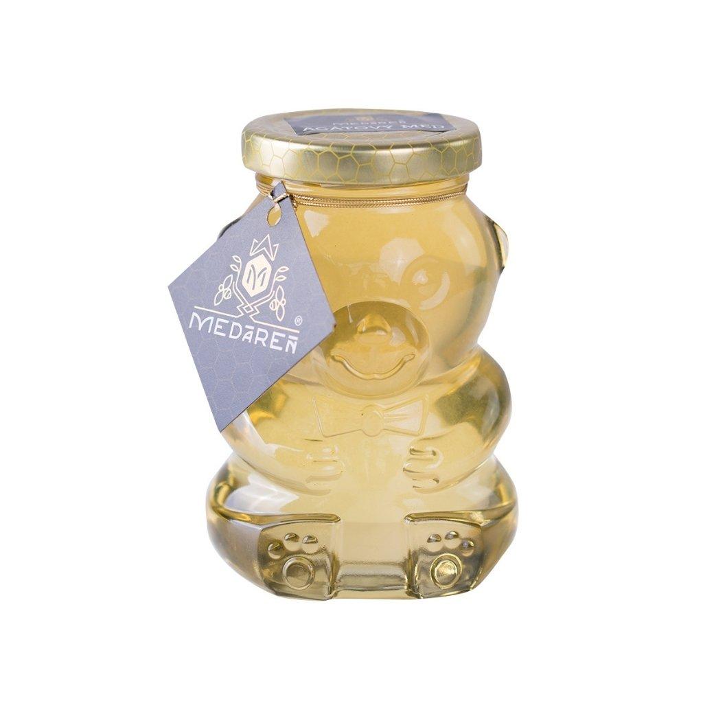 Med v sklenenom macíkovi agátový | Medáreň