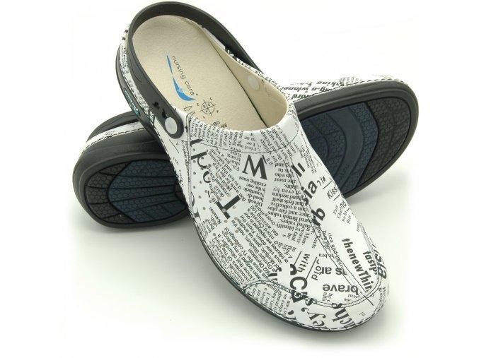 Pracovní pantofle Nursing Care PARIS s páskem - noviny