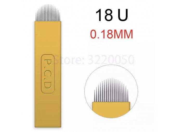 Linkovací sterilní jehla čepel 18U / - 0,18 mm PRO RUČNÍ TETOVACÍ STROJEK PERMANENTNÍ MAKEUP