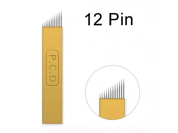1 ks Linkovací sterilní jehla čepel 12Pin / - 0,18 mm PRO RUČNÍ TETOVACÍ STROJEK PERMANENTNÍ MAKEUP