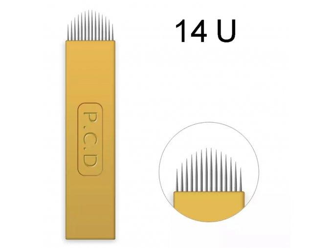 1 ks Linkovací sterilní jehla čepel 14 U / - 0,25 mm PRO RUČNÍ TETOVACÍ STROJEK PERMANENTNÍ MAKEUP