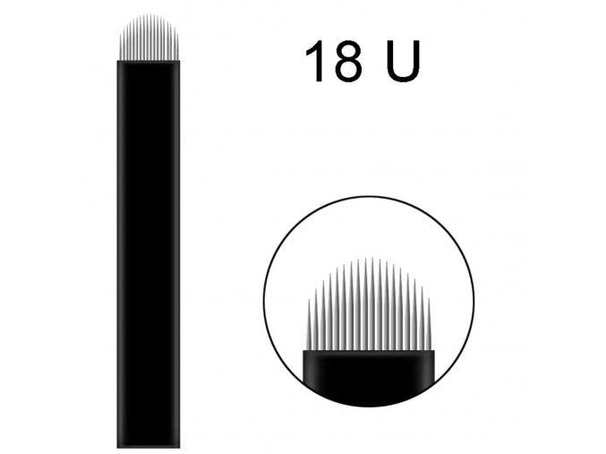1 ks Linkovací sterilní jehla čepel 18U / - 0,18 mm PRO RUČNÍ TETOVACÍ STROJEK PERMANENTNÍ MAKEUP