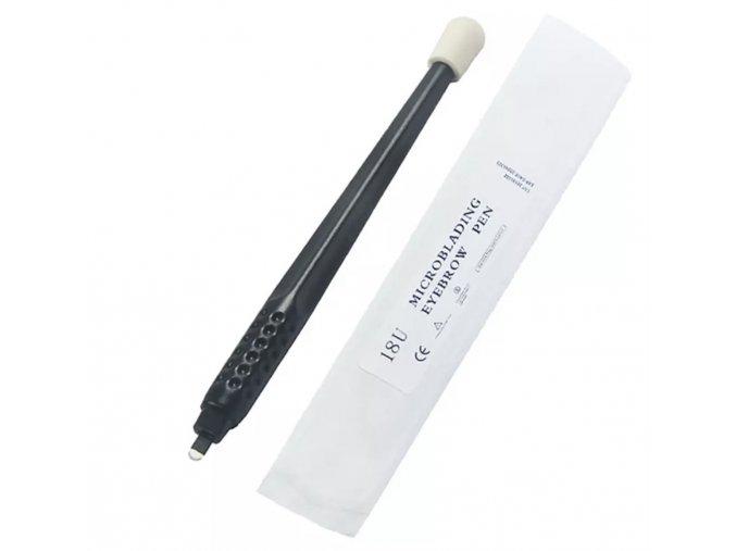 Jednorázová tužka pero s NANO čepelkou U18 / 0,18 mm a aplikační houbičkou, manuální ruční na permanentní make-up obočí 3D