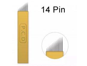 1 ks Linkovací sterilní jehla čepel 14 Pin / - 0,25 mm PRO RUČNÍ TETOVACÍ STROJEK PERMANENTNÍ MAKEUP