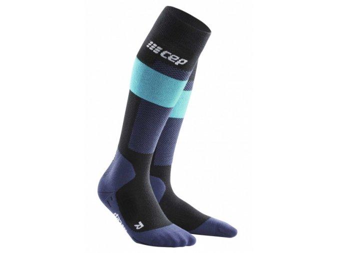 1280x1280 Ski Merino Socks black green WP55LB WP45LB front 2 sba