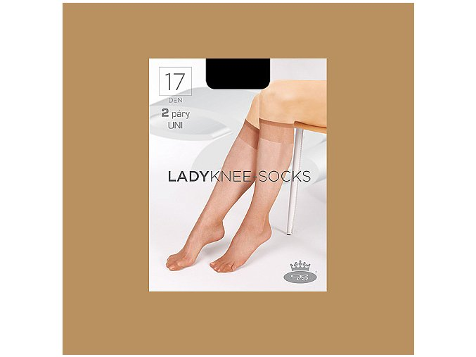 Lady knee socks beige web