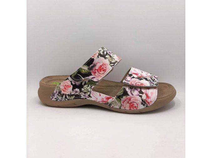 Dámské pantofle Peon PE/4150-14F černá+květ