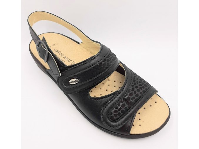 Dámské sandály pro širší nohy se strečem Grünland ESTA SE0417-68 černé