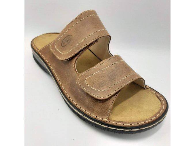 Dámské pantofle pro širší nohy Ortoplus 1630-006 hnědé