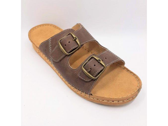 Dámské pantofle pro širší nohy Ortoplus 1010-40V hnědé